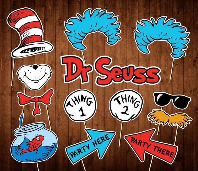 Dr Seuss Photo Booth Props - INSTANT DOWNLOAD - Cat in the Hat Birthday Party