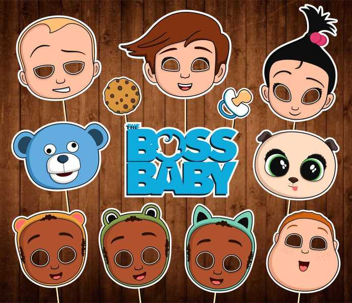 Boss Baby Photo Booth Props - INSTANT DOWNLOAD - Boss Baby Birthday Party Masks