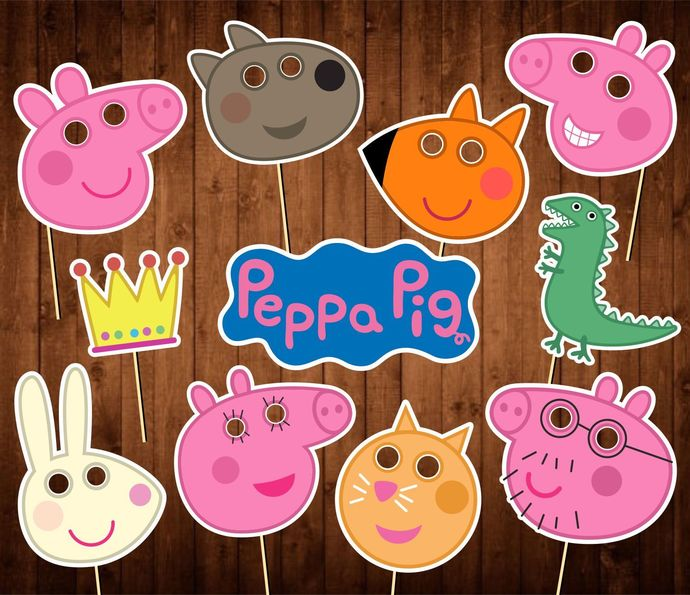 Peppa Pig Photo Booth Props - INSTANT DOWNLOAD - Birthday Party Masks - Decor
