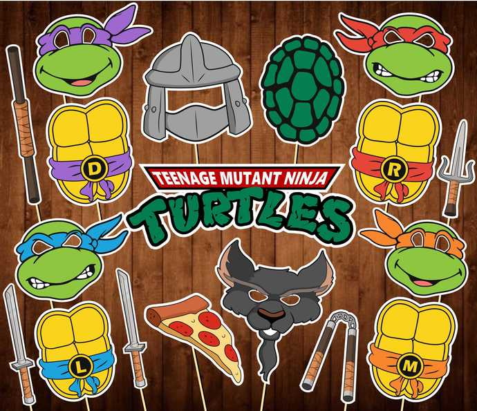 TMNT Photo Booth Props - INSTANT DOWNLOAD - Teenage Mutant Ninja Turtles