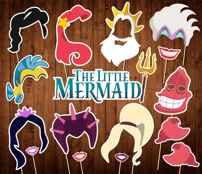 Little Mermaid Photo Booth Props - INSTANT DOWNLOAD - Little Mermaid Movie