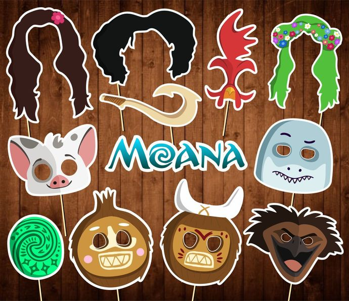 Moana Photo Booth Props - INSTANT DOWNLOAD - Birthday Party Masks - Decor