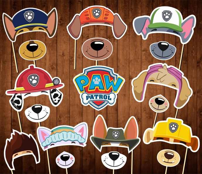 Paw Patrol Photo Booth Props - INSTANT DOWNLOAD - Paw Patrol Birthday Party