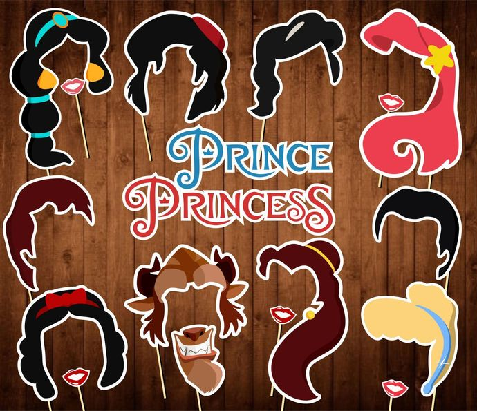 Prince and Princess Photo Booth Props - INSTANT DOWNLOAD - Birthday Party Masks