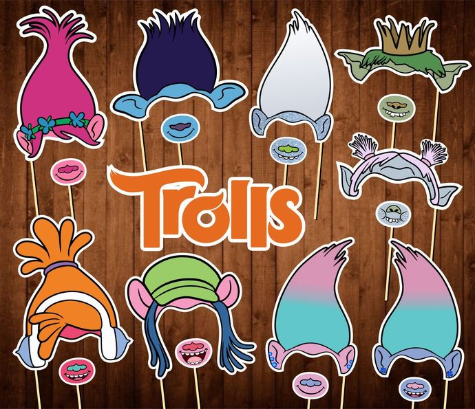 Trolls Photo Booth Props - INSTANT DOWNLOAD - Birthday Party Masks - Decor