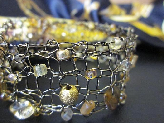 Handmade Double-strand Knit Wire Bangle Bracelet for sale