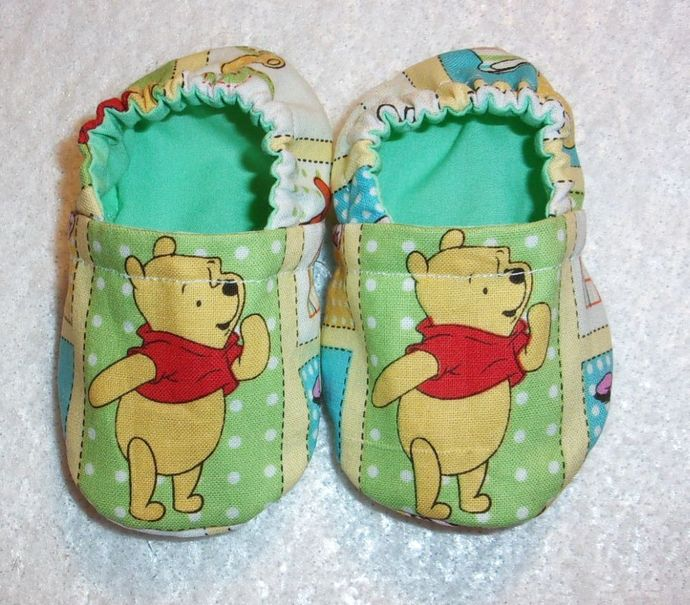 Baby Booties, Soft Fabric Baby Shoes, Winnie the Pooh  Baby Shoes, Baby Shower