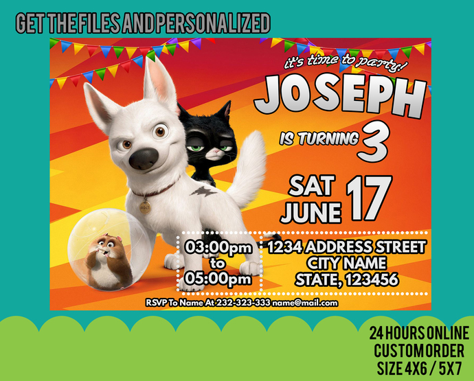 Bolt Invitation, Bolt Birthday Party, Mittens, Rhino, Dog Invitation, Pet, Dogs,