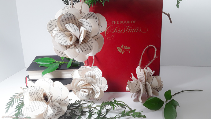 5 Book Page Flower Christmas Tree Ornaments, Paper Flowers, Holiday Ornaments,