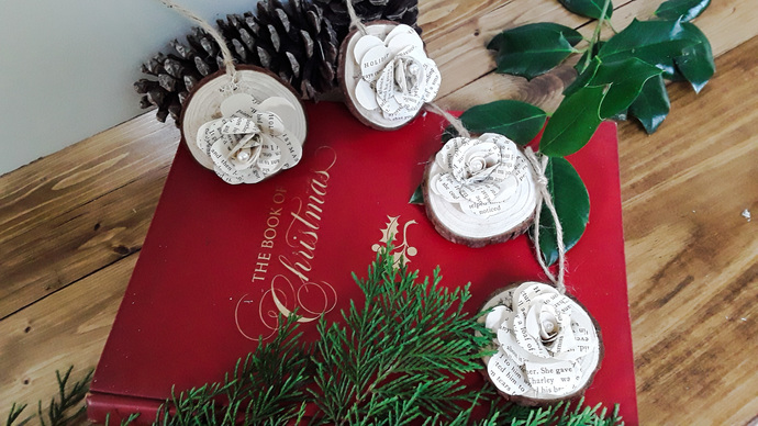 4 Wooden Book Flower Christmas Ornaments, Christmas Tree Decor, Paper Ornaments,