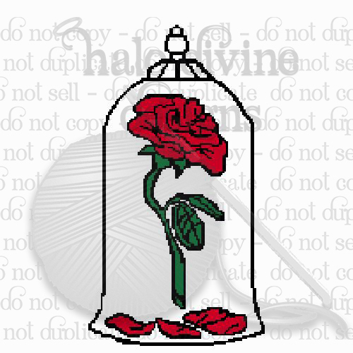 Crochet Graph of Rose from Beauty and the Beast