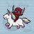 Crochet Graph Deadpool riding a unicorn for graphgan