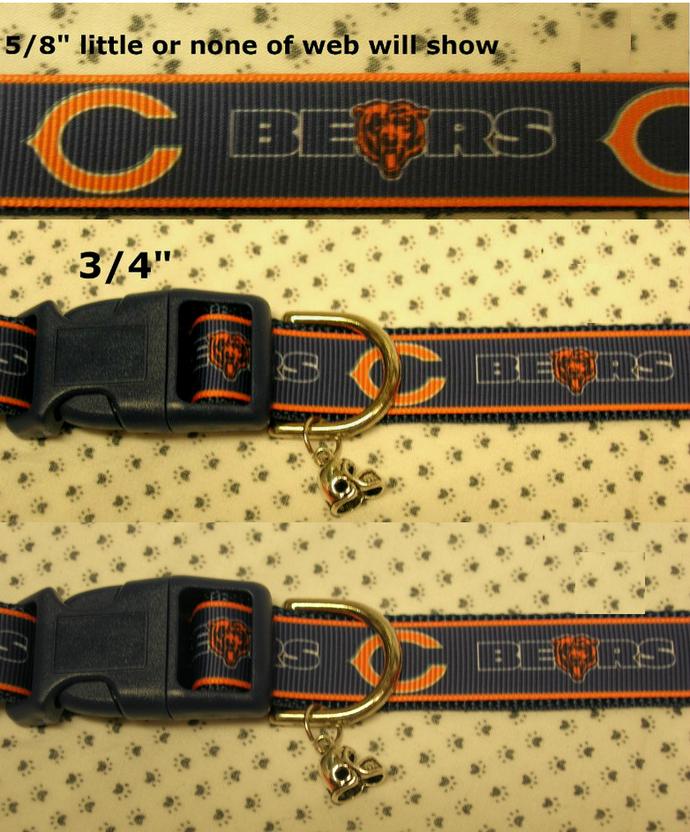 "Chicago Bears, Football, NFL, Sports team, 5/8"" -  1"" Dog or Cat Collar,"