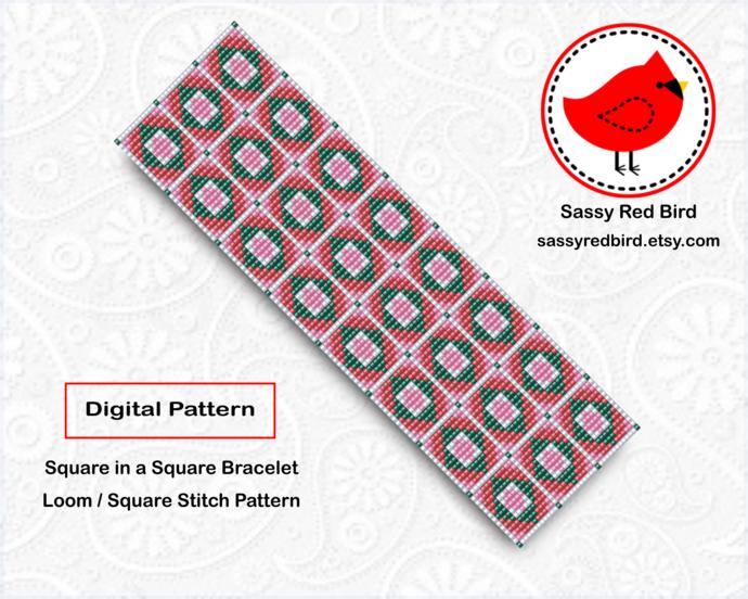 Loom / Square Stitch - Square in a Square Bracelet Pattern
