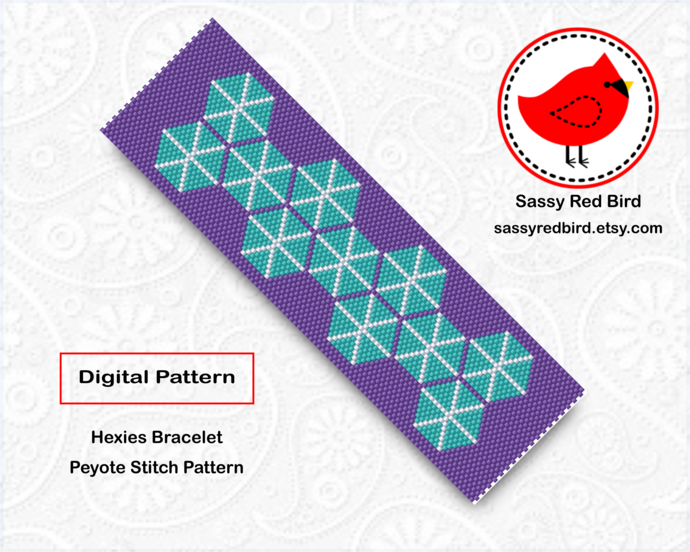Peyote Stitch - Hexies Bracelet Pattern