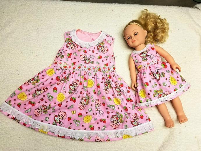 Strawberry Shortcake Dress Set Doll Dress Size 3/4