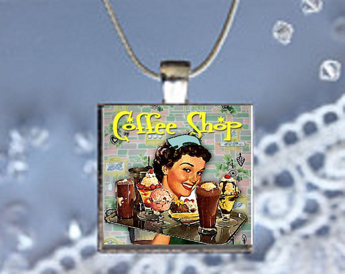 Pendant Neclace 50's Nostalgia, Coffee Shop
