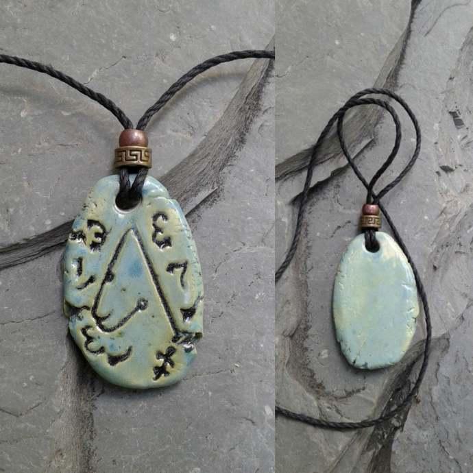 Archangel  Metatron Necklace Ceramic Sea Green Angel Pendant Sigil Enochian