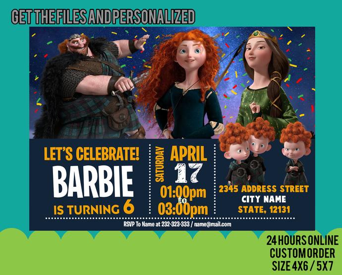rincess Brave Birthday invitation V1 . Brave Birthday Party . Brave invitation .