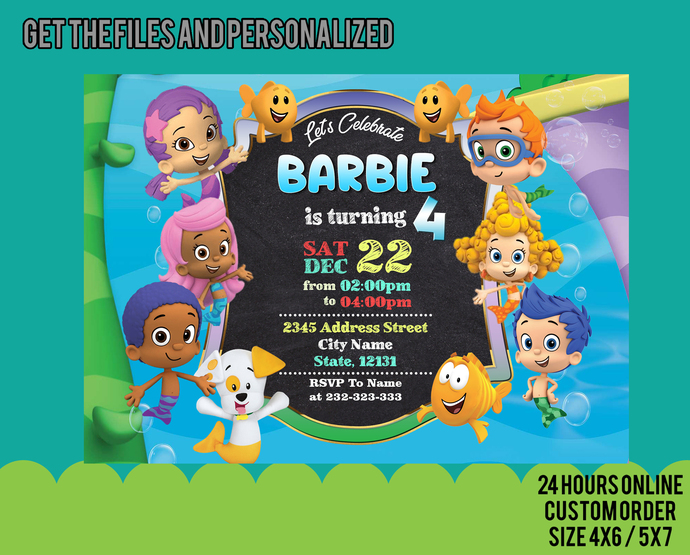 Girl Bubble Guppies Birthday Party Invitation & Thank you Card, Invite, Thank