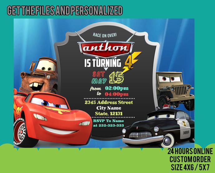 Cars Invitation, Cars Birthday, Cars Party, Cars Invite, Disney Cars Invitation,