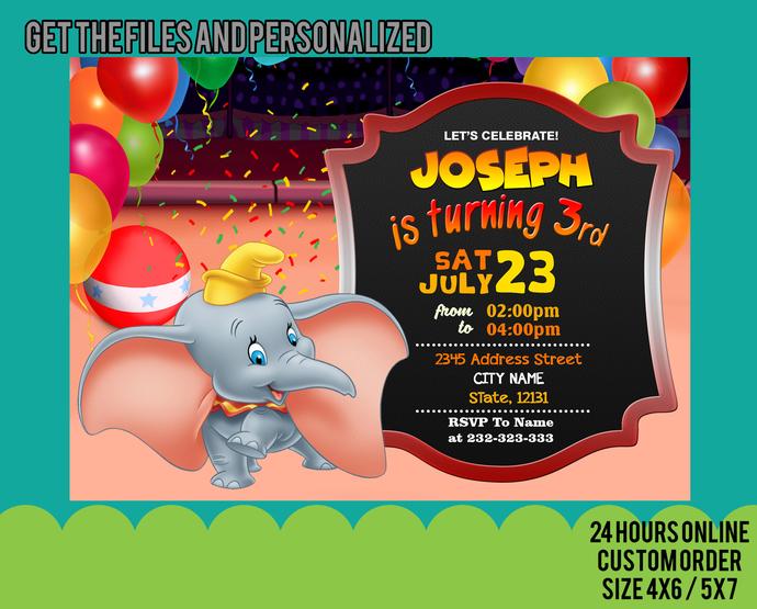 Copy of Dumbo Invitation, Dumbo Birthday Invitation, Dumbo Party Invitation,