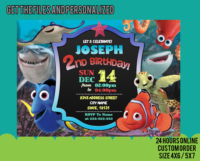 Finding Dory Invitation, Finding Dory Birthday Party, Finding Dory Invites,