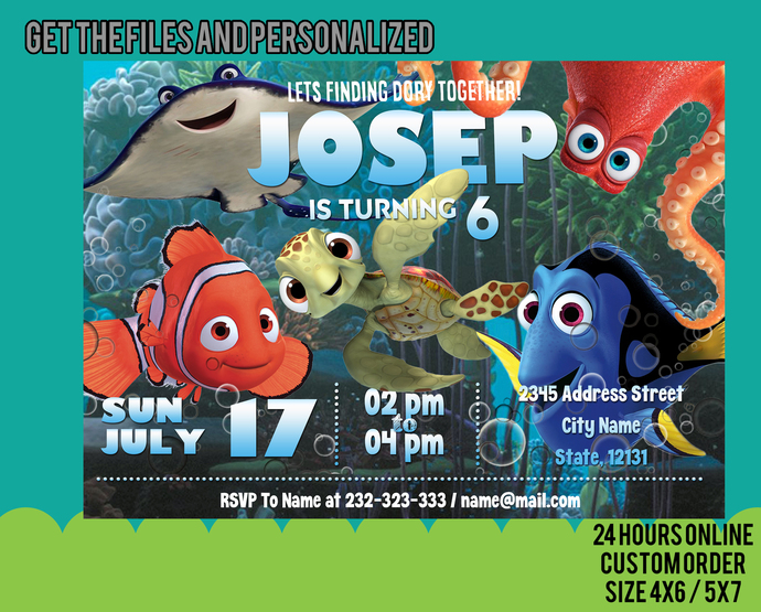 Copy of Finding Dory Invitation, Finding Dory Birthday Party, Finding Dory
