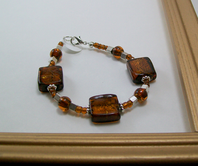 Sterling and Brown Glass Bracelet