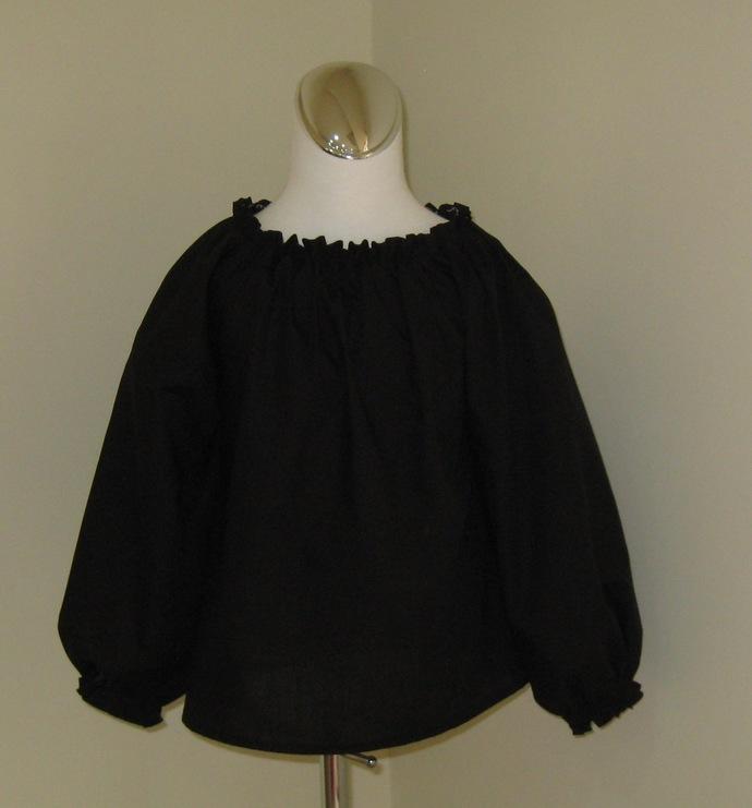 Black Long Sleeve Peasant Top  12M To 7  Girl Top, Black Top, Black Blouse, Long