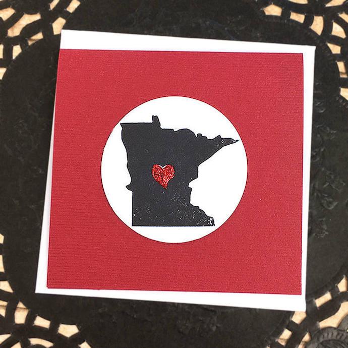 Love Minnesota Mini-Card, Gift Tag, Heart, State, North Star State, Vikings,