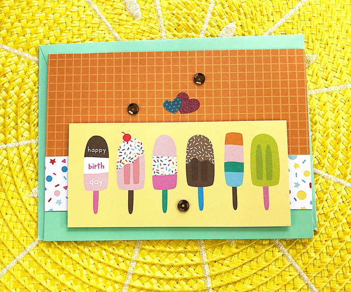 Happy Birthday Sweet Popsicles Greeting, Note Card, Ice Cream Treats, Fun,