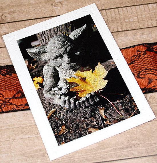 Glitter Accent Gargoyle With Leaf Fine Art Photography Card, Halloween, Fall,