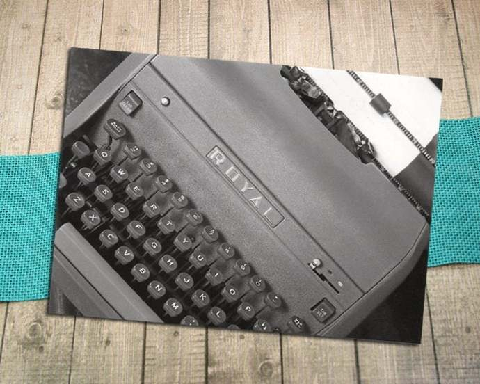Royal Typewriter Fine Art Postcard, Write, Letter, Paper, Keep in Touch, Writer,