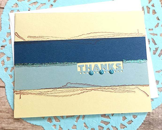 Simple Blues With Yellow Thanks Card, Thank You, Appreciation, Minimalist,