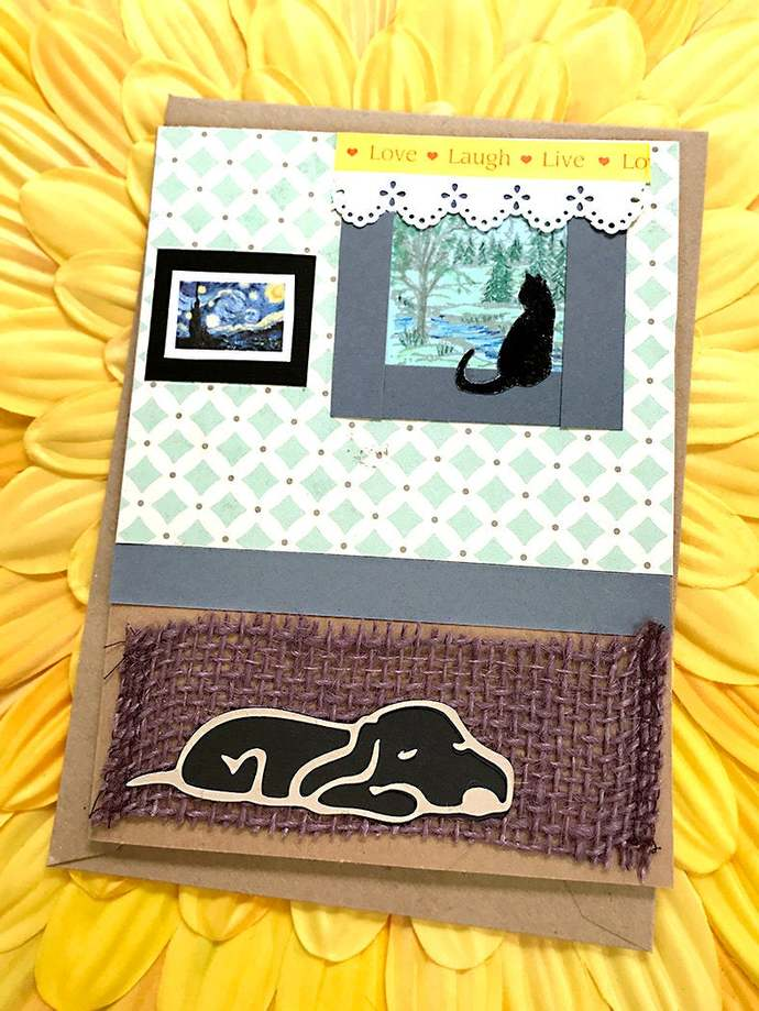 Comfy Cat and Dog Greeting Card, Relax, Home, Restful, Pets, Van Gogh, Country,