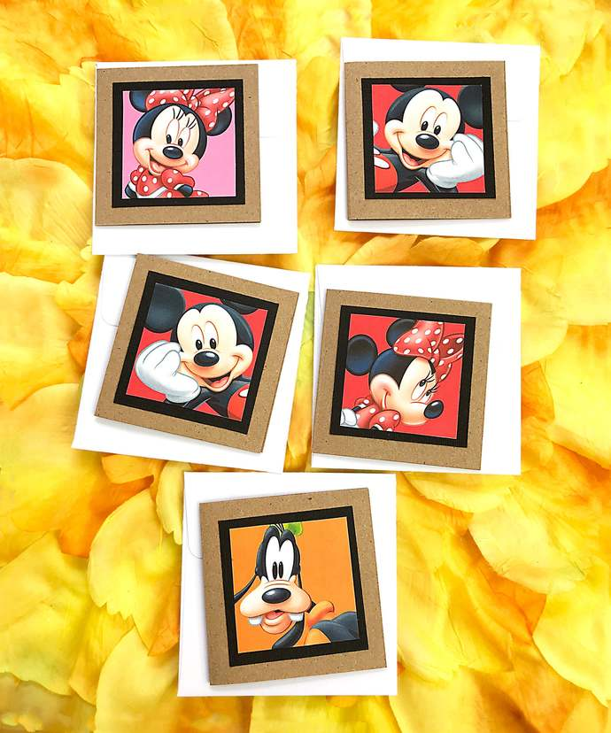 Set of 5 Mickey Mouse, Minnie Mouse & Goofy Mini Cards, Gift Tag, Disney,