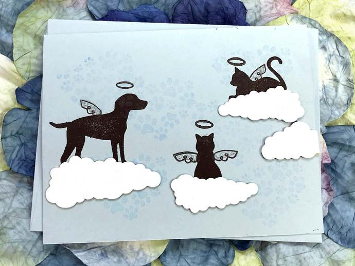 Loss of Furry Friend with 4 Clouds Greeting, Note Card, Sympathy, Caring, Loss,