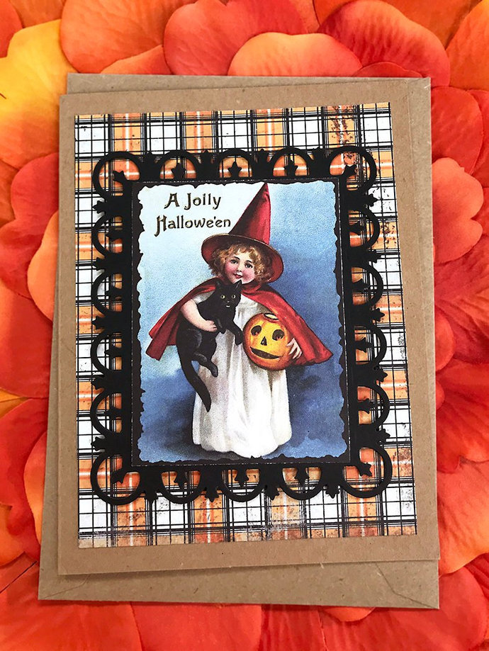A Jolly Halloween Cat and Little Witch Trick or Treater Vintage Greeting, Note