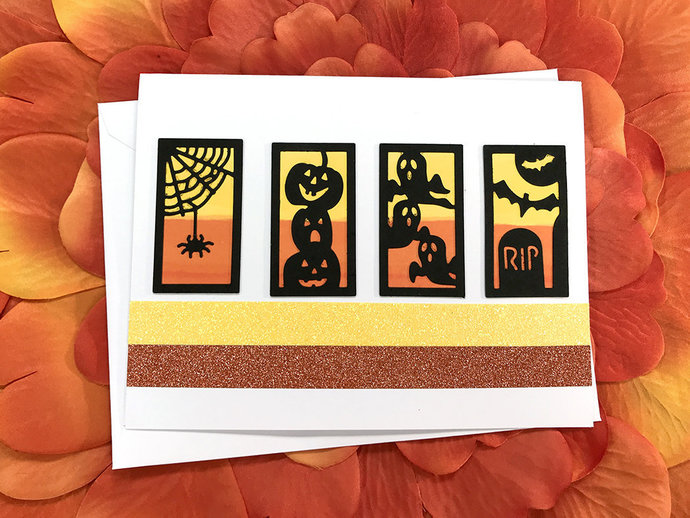 Candy Corn Halloween Silhouettes Greeting, Note Card, Spider, Web,