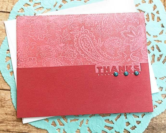 Paisley Thanks, Thank You Note Card, Sparkle, Gratitude, Grateful, Thinking of
