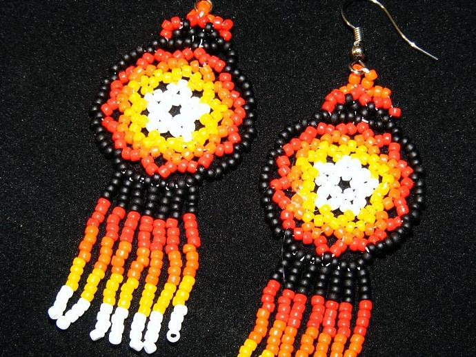 Sonoran Sunset Mandala Shield Earring
