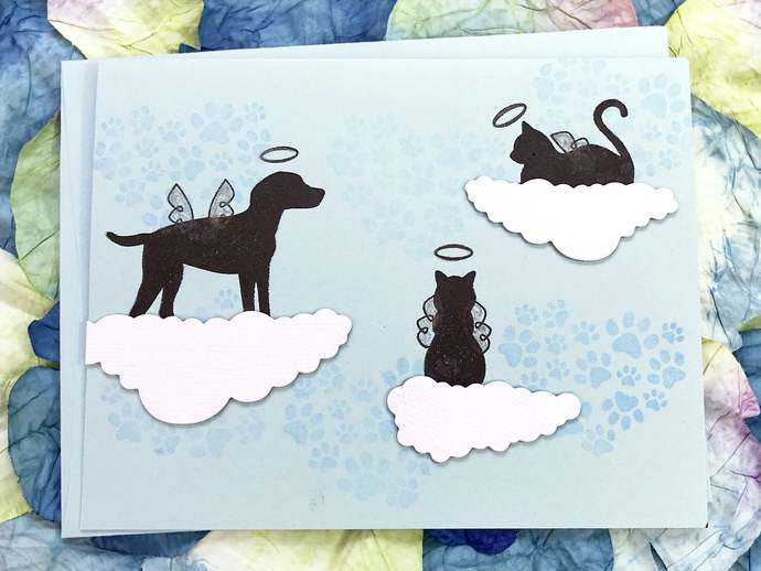 Loss of Furry Friend with 3 Clouds Greeting, Note Card, Sympathy, Caring, Loss,