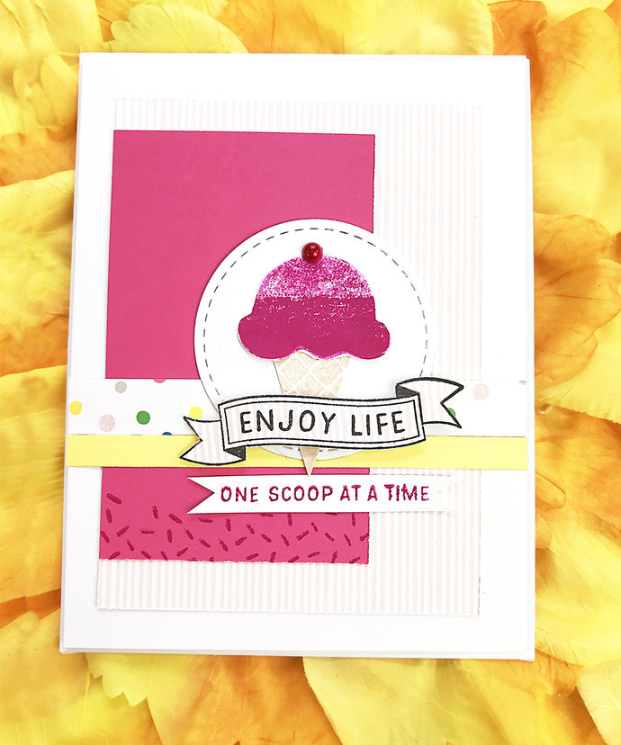 Enjoy Life One Scoop at a Time Ice Cream Greeting, Note Card, Sweet,