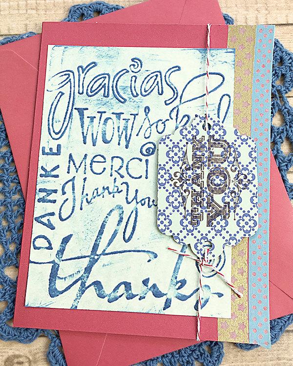 In Any Language Thank You Card, Danke, Gracias, Merci, Grateful, Gratitude,