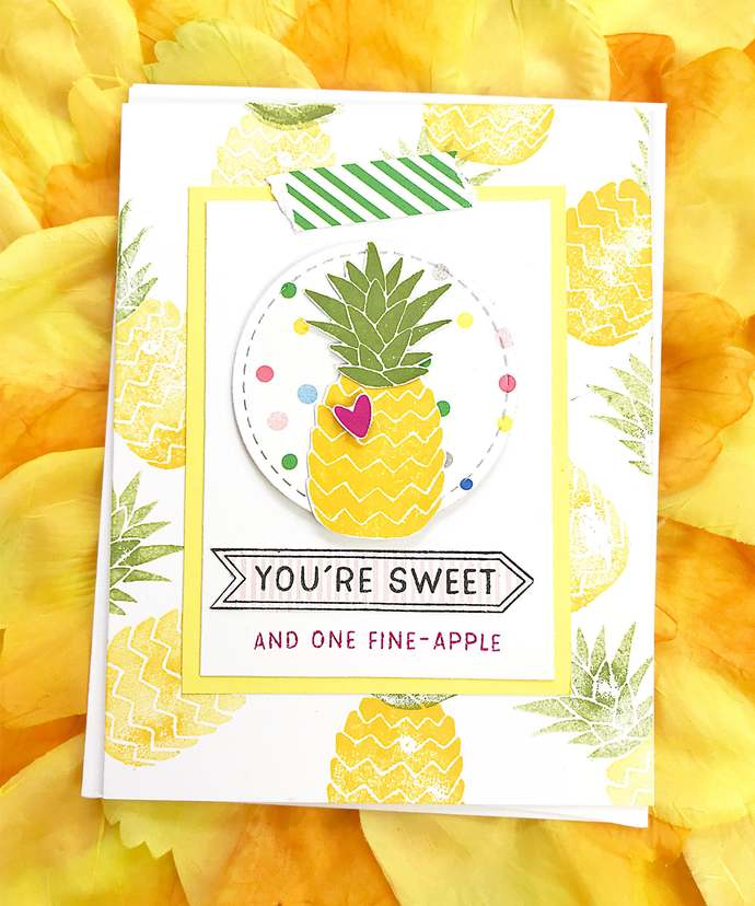 You're Sweet and One Fine-Apple Pineapple Greeting, Note Card, Tropical, Fun,
