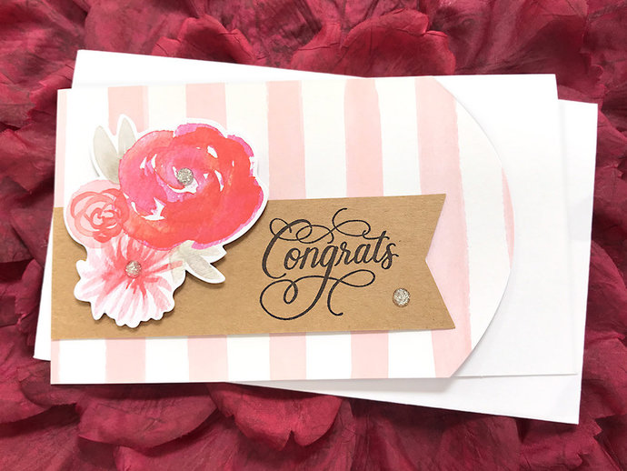 Flowers, Stripes and Sparkle Congrats Greeting, Note Card, Wedding, Graduation,