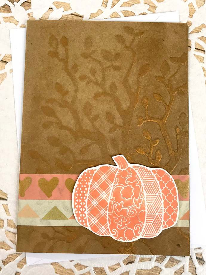Copper Hey There Pumpkin Greeting Card, Fall, Thanksgiving, Patterns, Hearts,