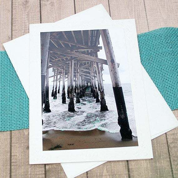 Glitter Accents Under The Boardwalk Fine Art Photography Note Card, Newport
