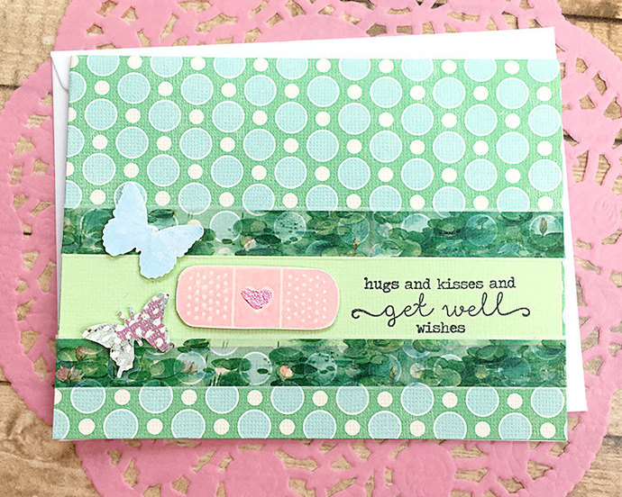 Butterflies and Bandaid Get Well Wishes Card, Blue and Green, Monet Look,
